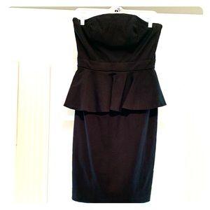 Strapless Peplum Black Cocktail Dress
